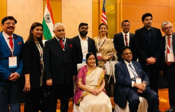 Mr Mohan K, with Indian Minister for External Affairs, Smt Sushma Swaraj at Pravasi Bharatiya Divas, Singapore, January 2018
